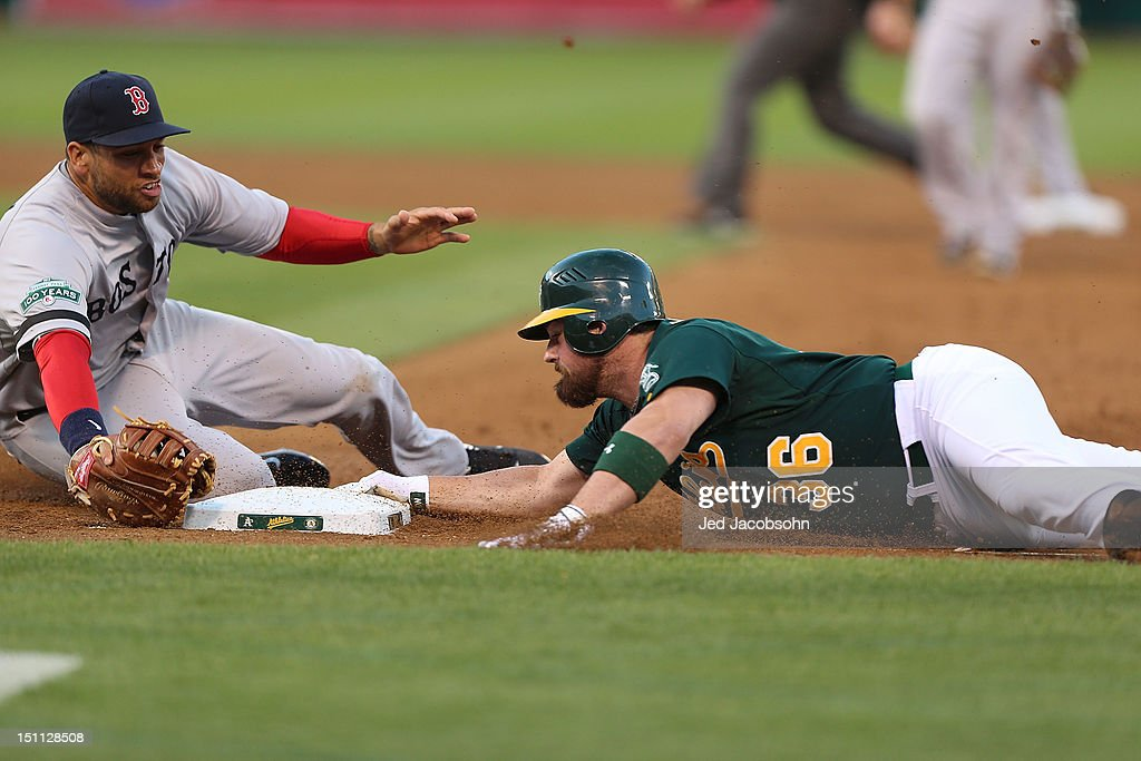 <a gi-track='captionPersonalityLinkClicked' href=/galleries/search?phrase=Derek+Norris&family=editorial&specificpeople=6795804 ng-click='$event.stopPropagation()'>Derek Norris</a> #36 of the Oakland Athletics dives back to first after a single as <a gi-track='captionPersonalityLinkClicked' href=/galleries/search?phrase=James+Loney&family=editorial&specificpeople=636293 ng-click='$event.stopPropagation()'>James Loney</a> #22 of the Boston Red Sox applies the tag during a Major League Baseball game at the O.co Coliseum on September 1, 2012 in Oakland, California.