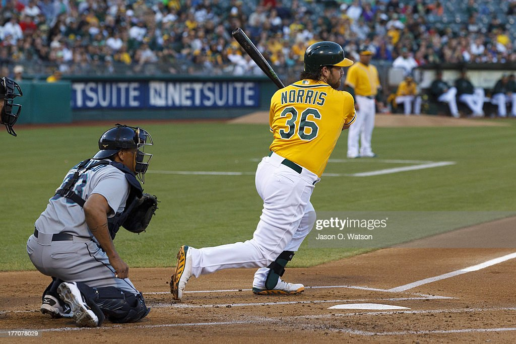 <a gi-track='captionPersonalityLinkClicked' href=/galleries/search?phrase=Derek+Norris&family=editorial&specificpeople=6795804 ng-click='$event.stopPropagation()'>Derek Norris</a> #36 of the Oakland Athletics hits an RBI single against the Seattle Mariners during the first inning at O.co Coliseum on August 20, 2013 in Oakland, California.