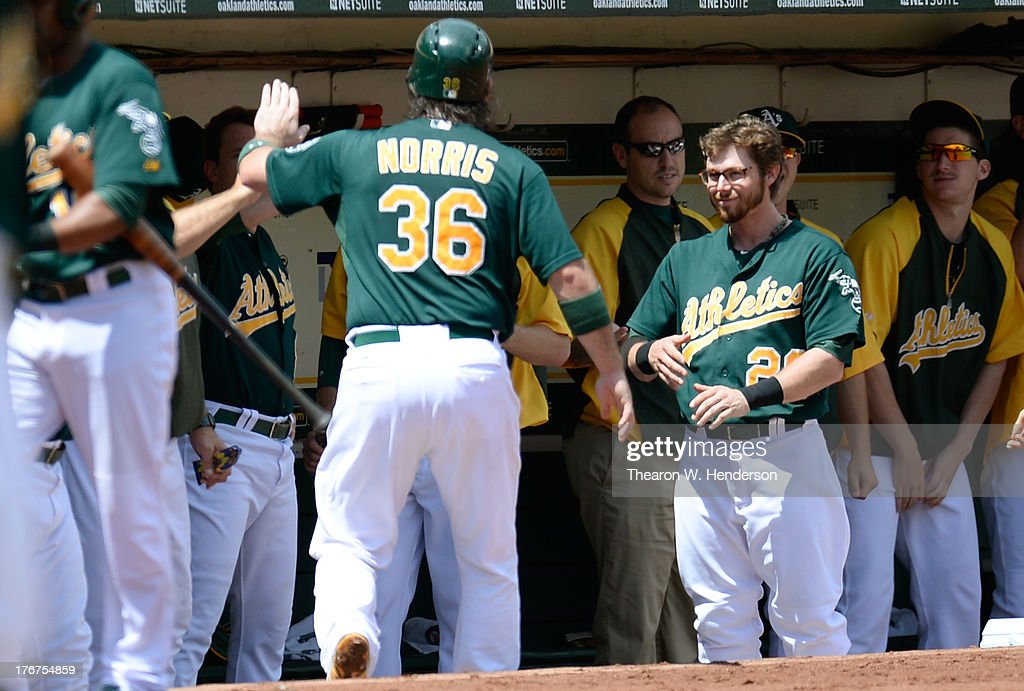 <a gi-track='captionPersonalityLinkClicked' href=/galleries/search?phrase=Derek+Norris&family=editorial&specificpeople=6795804 ng-click='$event.stopPropagation()'>Derek Norris</a> #36 of the Oakland Athletics is congratulated by teammates after he scored in the first inning against the Cleveland Indians at O.co Coliseum on August 18, 2013 in Oakland, California.