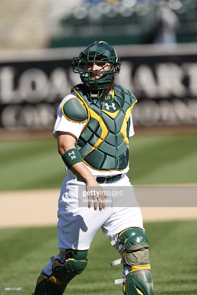 Derek Norris #36 of the Oakland Athletics stands on the field during the game against the Seattle Mariners at O.co Coliseum on April 6, 2014 in Oakland, California. The Athletics defeated the Mariners 6-3.