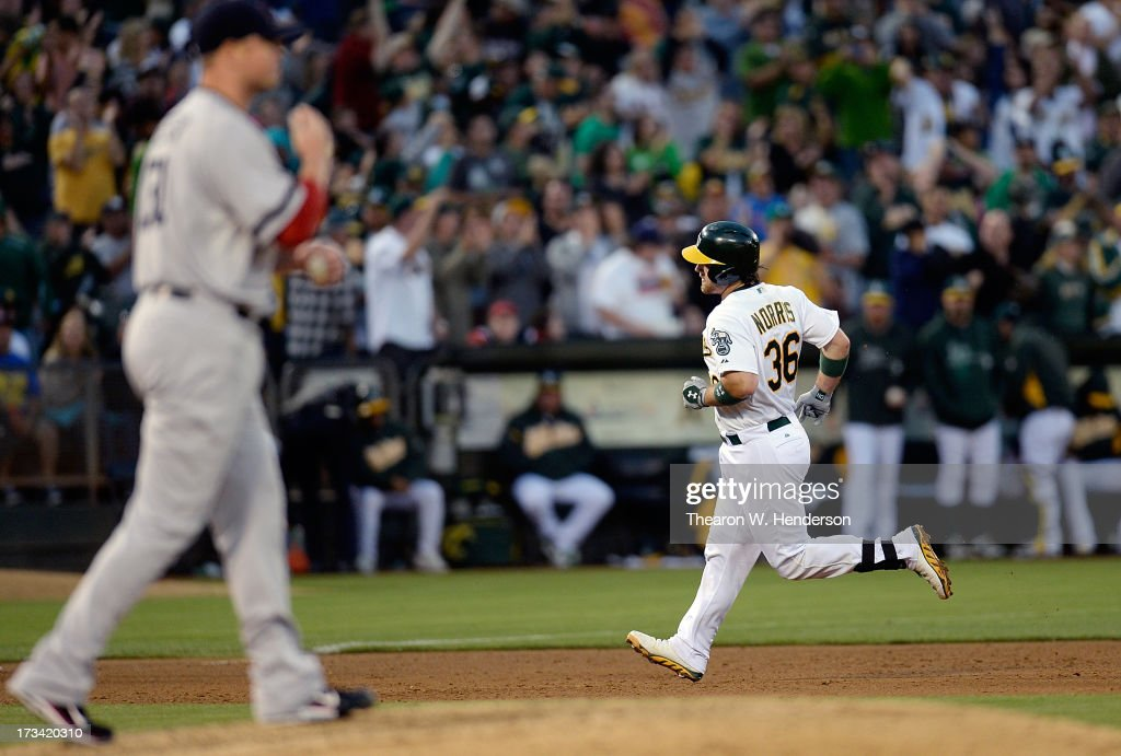 Derek Norris #36 of the Oakland Athletics trots around the bases after hitting a solo home run as pitcher Jon Lester #31 of the Boston Red Sox looks on with a new baseball in the fifth inning at O.co Coliseum on July 13, 2013 in Oakland, California.