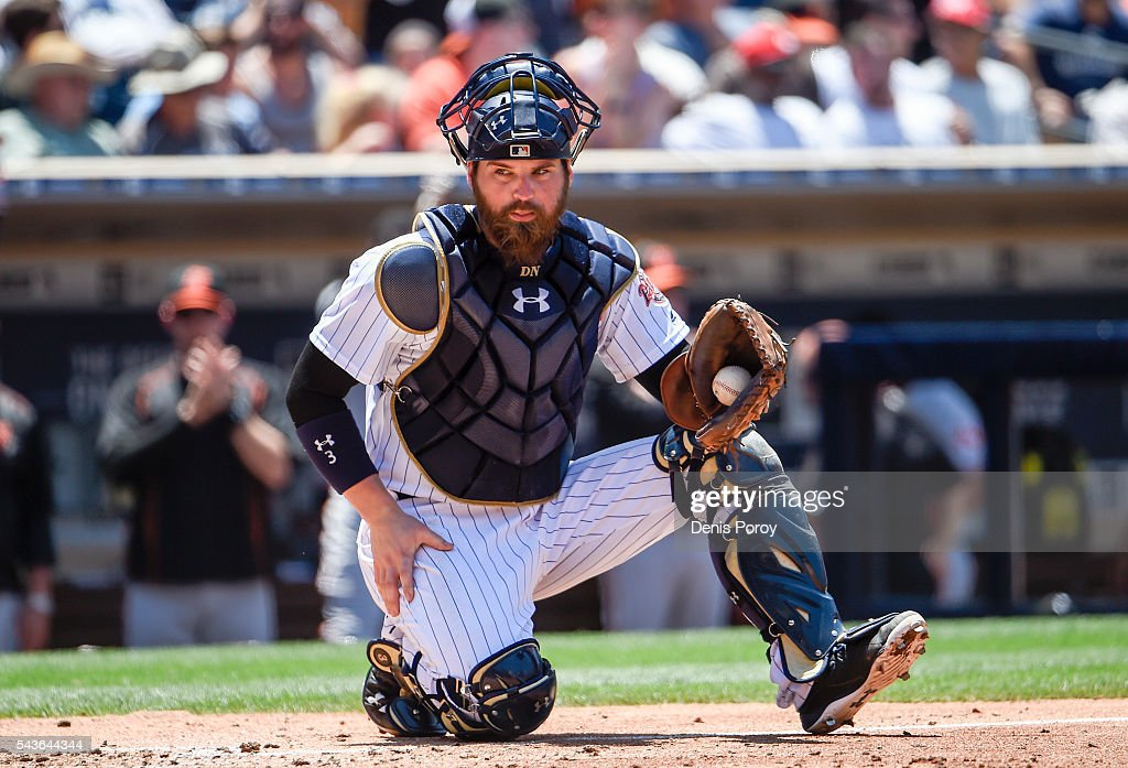 <a gi-track='captionPersonalityLinkClicked' href=/galleries/search?phrase=Derek+Norris&family=editorial&specificpeople=6795804 ng-click='$event.stopPropagation()'>Derek Norris</a> #3 of the San Diego Padres kneels on the plate after a run scored during the fourth inning of a baseball game against the Baltimore Orioles at PETCO Park on June 29, 2016 in San Diego, California.