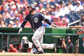 Derek Norris of the San Diego Padres takes a swingduring a baseball game against the Washington Nationals at Nationals Park on July 24 2016 in...