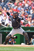 Derek Norris of the San Diego Padres throws to second pitch during a baseball game against the Washington Nationals at Nationals Park on July 24 2016...