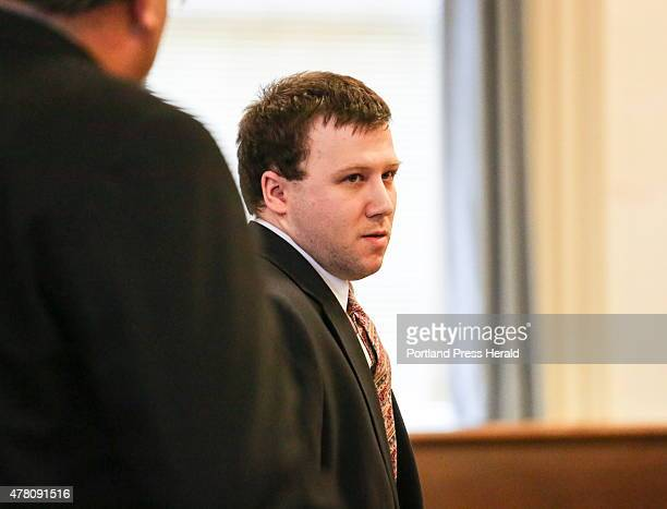 Derek Poulin reacts to a guilty verdict for arson and murder in the death of his grandmother Patricia Noel in Old Orchard Beach in 2012 at the York...