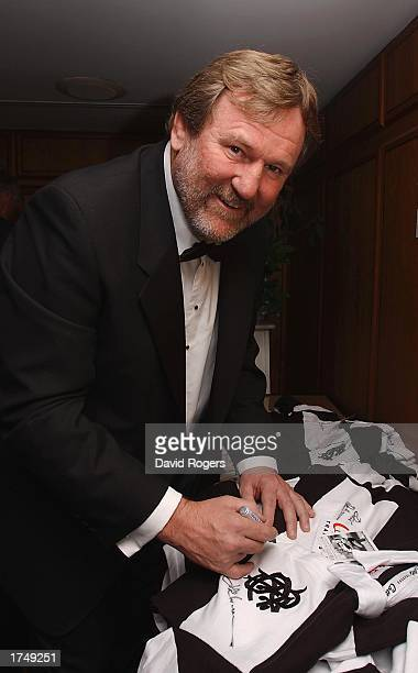 Derek Quinnell the Barbarians number 8 signs a Barbarian shirt during the reunion party for the 1973 Barbarians held at the Hilton Hotel London...