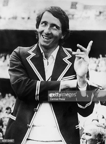 Derek Randall of the MCC enjoys a joke during the presentations after the centenary test match against Australia in Melbourne 22nd March 1977 Randall...