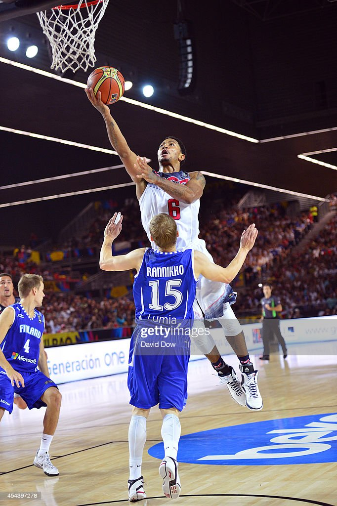 Derek Rose #8 of the USA Basketball Men's National Team shoots the basketball against Teemu Rannikko #15 of the Finland Nation Basketball Team during the FIBA 2014 World Cup Tournament at the Bilbao Exhibition Center on August 30, 2014 in Bilbao, Spain.