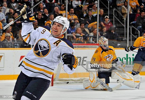 Derek Roy of the Buffalo Sabres celebrates the game wining goal against Anders Lindback of the Nashville Predators at the Bridgestone Arena on...