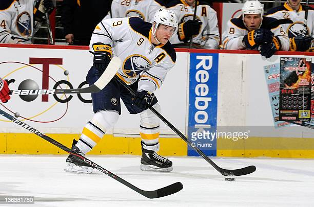 Derek Roy of the Buffalo Sabres handles the puck against the Washington Capitals at the Verizon Center on December 30 2011 in Washington DC