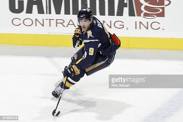 Derek Roy of the Buffalo Sabres handles the puck against the Phoenix Coyotes at HSBC Arena on October 8 2009 in Buffalo New York