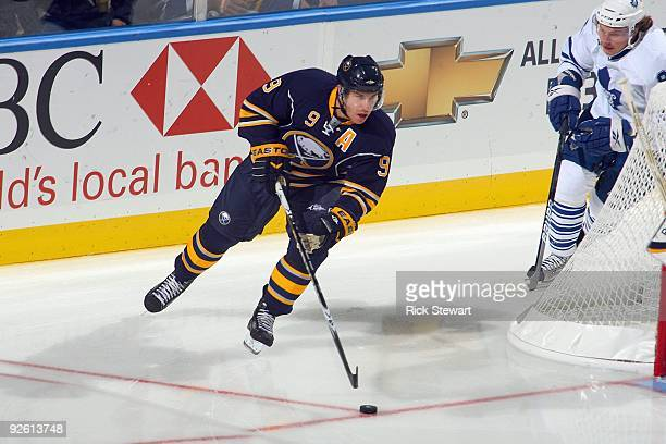 Derek Roy of the Buffalo Sabres handles the puck against the Toronto Maple Leafs at HSBC Arena on October 30 2009 in Buffalo New York