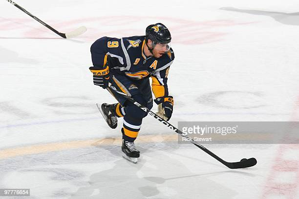 Derek Roy of the Buffalo Sabres handles the puck against the Minnesota Wild at HSBC Arena on March 12 2010 in Buffalo New York
