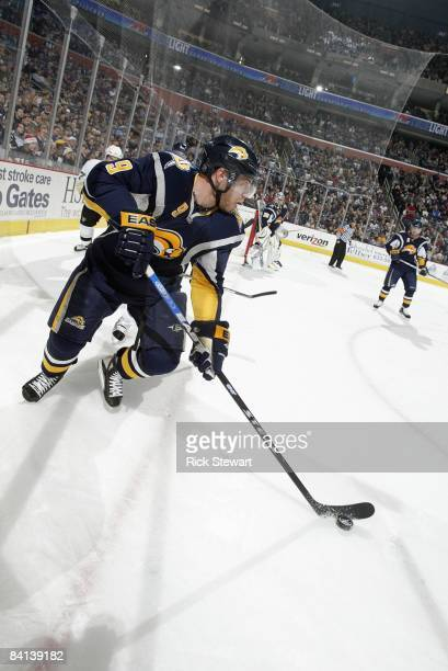 Derek Roy of the Buffalo Sabres handles the puck during the game against the Pittsburgh Penguins on December 22 2008 at HSBC Arena in Buffalo New York