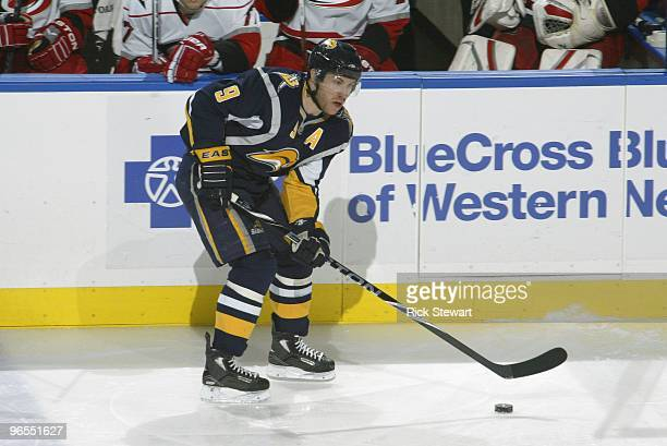 Derek Roy of the Buffalo Sabres handles the puck during the game against the Carolina Hurricanes at HSBC Arena on February 5 2010 in Buffalo New York