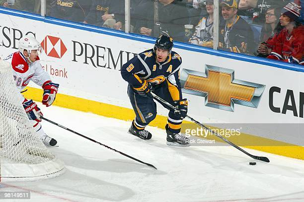 Derek Roy of the Buffalo Sabres handles the puck during the game against the Montreal Canadiens at HSBC Arena on March 24 2010 in Buffalo New York