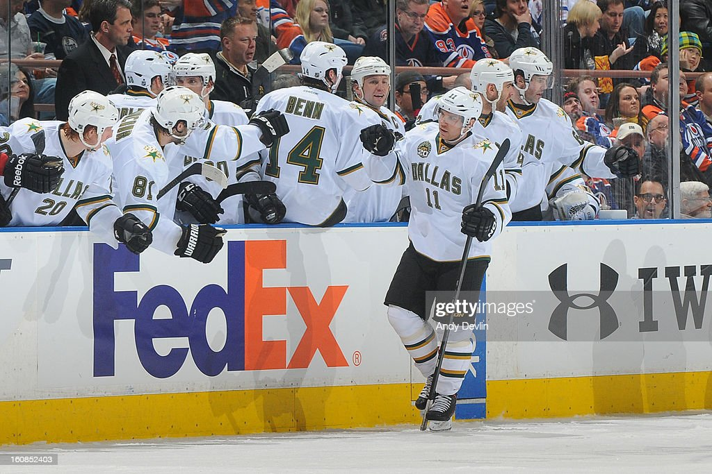 <a gi-track='captionPersonalityLinkClicked' href=/galleries/search?phrase=Derek+Roy&family=editorial&specificpeople=203272 ng-click='$event.stopPropagation()'>Derek Roy</a> #11 of the Dallas Stars celebrates after scoring a goal in a game against the Edmonton Oilers on February 6, 2013 at Rexall Place in Edmonton, Alberta, Canada.