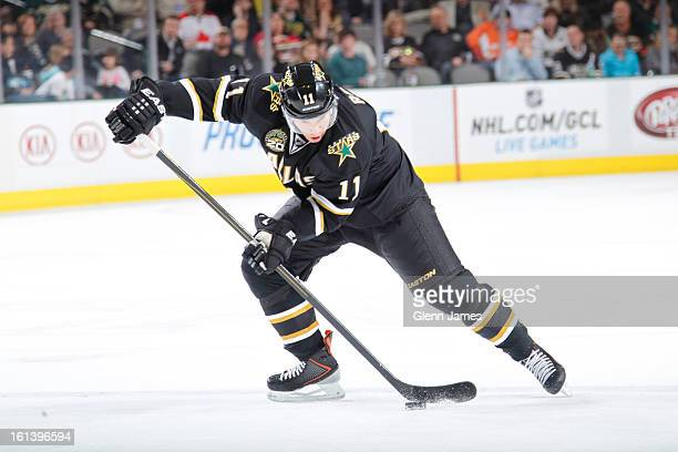 Derek Roy of the Dallas Stars handles the puck against the Anaheim Ducks at the American Airlines Center on February 8 2013 in Dallas Texas
