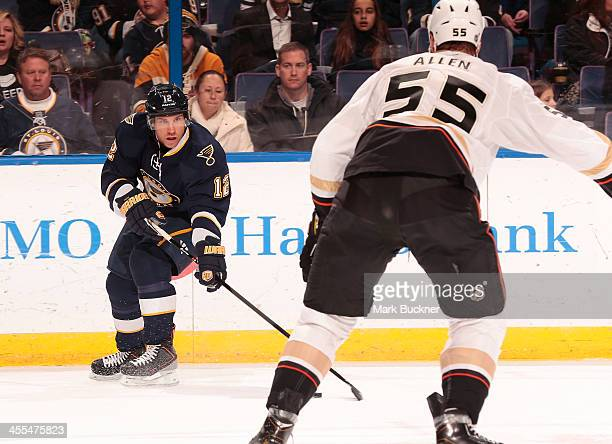 Derek Roy of the St Louis Blues handles the puck against the Anaheim Ducks during an NHL game on December 7 2013 at Scottrade Center in St Louis...