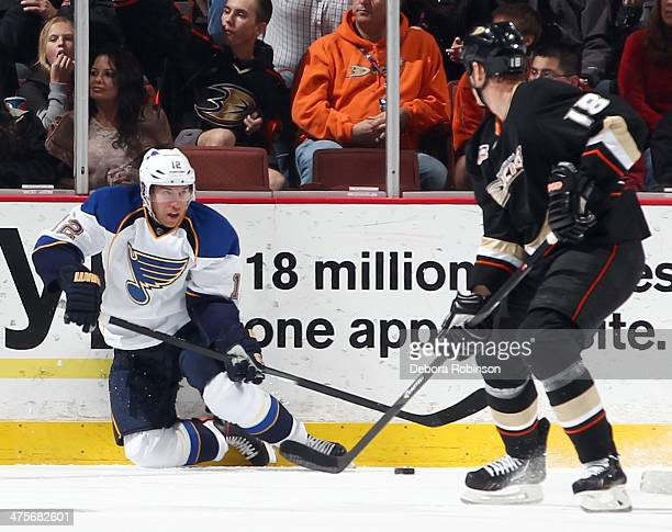 Derek Roy of the St Louis Blues handles the puck against Tim Jackman of the Anaheim Ducks on February 28 2014 at Honda Center in Anaheim California