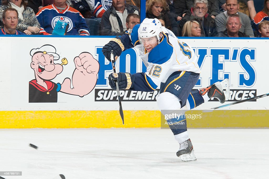 <a gi-track='captionPersonalityLinkClicked' href=/galleries/search?phrase=Derek+Roy&family=editorial&specificpeople=203272 ng-click='$event.stopPropagation()'>Derek Roy</a> #12 of the St. Louis Blues skates on the ice in a game against the Edmonton Oilers on December 21, 2013 at Rexall Place in Edmonton, Alberta, Canada.