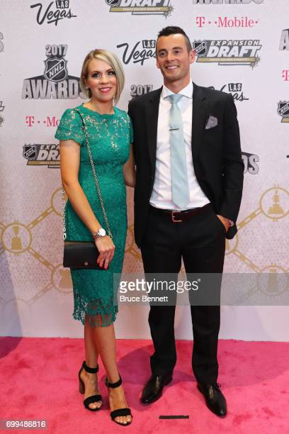 Derek Ryan of the Carolina Hurricanes and guest attend the 2017 NHL Awards at TMobile Arena on June 21 2017 in Las Vegas Nevada