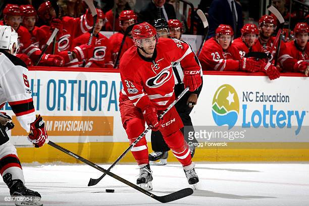 Derek Ryan of the Carolina Hurricanes controls the puck on the ice during an NHL game against the New Jersey Devils on January 3 2017 at PNC Arena in...