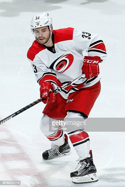 Derek Ryan of the Carolina Hurricanes looks during a NHL game against the San Jose Sharks at SAP Center at San Jose on December 10 2016 in San Jose...