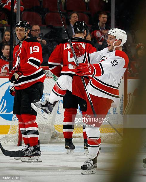 Derek Ryan of the Carolina Hurricanes makes his NHL debut against the New Jersey Devils and celebrates his first NHL goal at 436 of the second period...