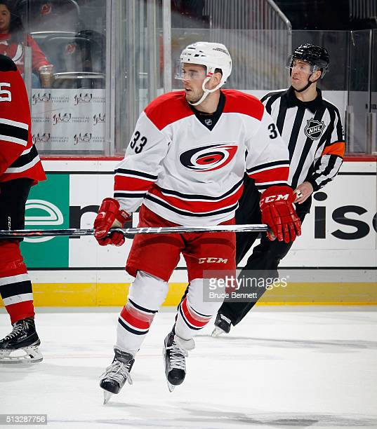 Derek Ryan of the Carolina Hurricanes makes his NHL debut against the New Jersey Devils at the Prudential Center on March 1 2016 in Newark New Jersey