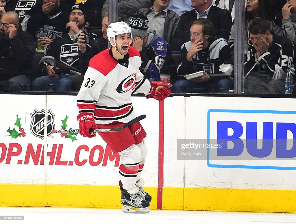 Derek Ryan #33 of the Carolina Hurricanes reacts to his short handed goal for a 2-0 lead over the Los Angeles Kings during the second period at Staples Center on December 8, 2016 in Los Angeles, California.
