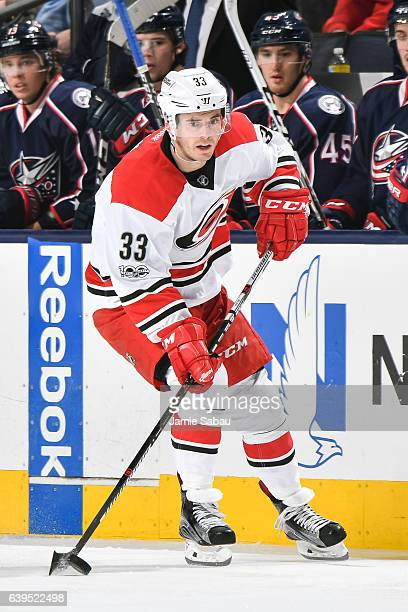 Derek Ryan of the Carolina Hurricanes skates against the Columbus Blue Jackets on January 21 2017 at Nationwide Arena in Columbus Ohio