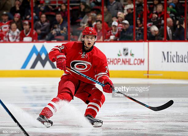 Derek Ryan of the Carolina Hurricanes skates for position during an NHL game against the Buffalo Sabres on December 17 2016 at PNC Arena in Raleigh...