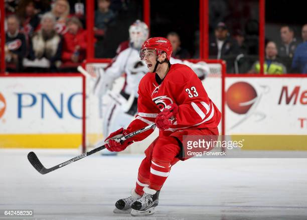 Derek Ryan of the Carolina Hurricanes skates for position near the blue line and calls for the puck during an NHL game against the Colorado Avalanche...
