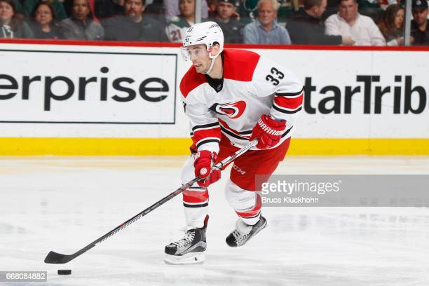 Derek Ryan of the Carolina Hurricanes skates with the puck against the Minnesota Wild during the game on April 4 2017 at the Xcel Energy Center in St...