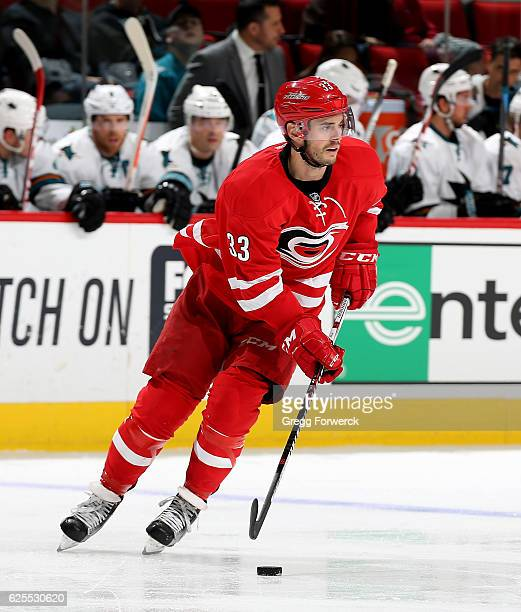Derek Ryan of the Carolina Hurricanes skates with the puck during an NHL game against the San Jose Sharks on November 15 2016 at PNC Arena in Raleigh...