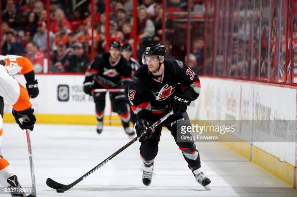 Derek Ryan of the Carolina Hurricanes skates with the puck during an NHL game against the Philadelphia Flyers on January 31 2017 at PNC Arena in...
