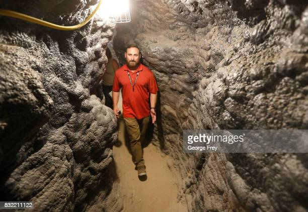 Program division chief Chris Johnson walks through a narrow section of the newly created BRAUCH training facility at the US Army's Dugway Proving...