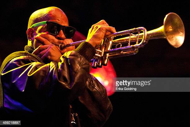Derek Shezbie of Rebirth Brass Band performs during Home For The Holiday Featuring The Andrews Family at the House of Blues on December 23 2013 in...
