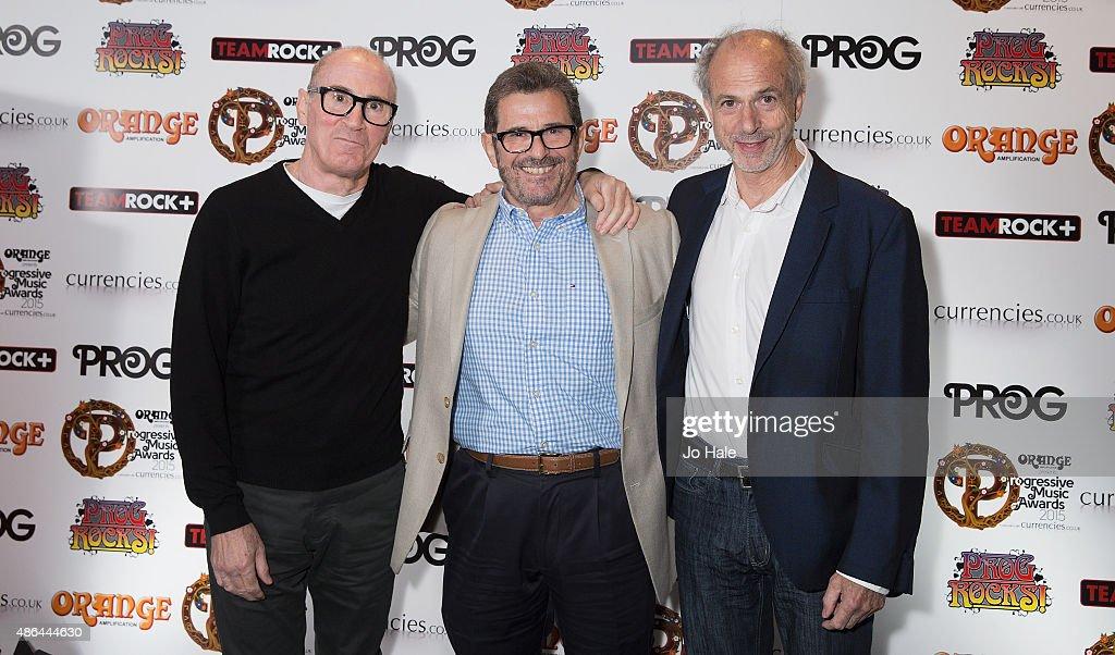 Derek Shulman, Ray Shulman, Kerry Minnear,attend the Progressive Music Awards at Underglobe on September 3, 2015 in London, England.