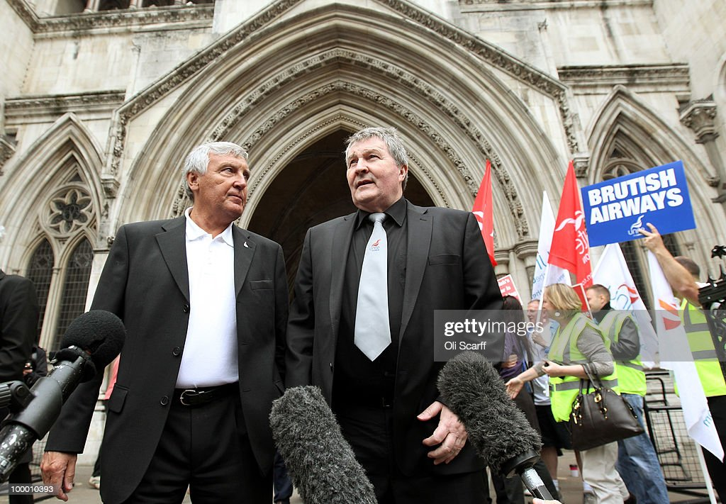 Derek Simpson (C) and Tony Woodley (L) the Joint General Secretaries of the Unite union, speaks to the media outside the High Court after the court overturned a ban on strike action by BA cabin crew on May 20, 2010 in London, England. The High Court had previously granted British Airways an injunction against industrial action by cabin crew over failings by the Unite union in their reporting of the results of its strike ballot to members.