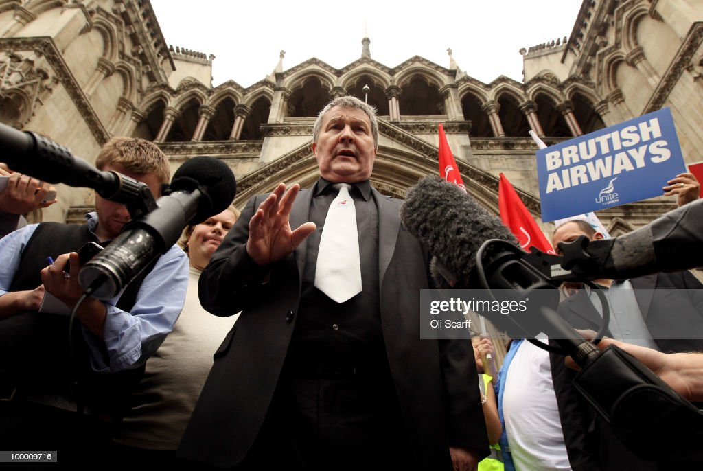 Derek Simpson (C), the Joint General Secretary of the Unite union, speaks to the media outside the High Court after the court overturned a ban on strike action by BA cabin crew on May 20, 2010 in London, England. The High Court had previously granted British Airways an injunction against industrial action by cabin crew over failings by the Unite union in their reporting of the results of its strike ballot to members.