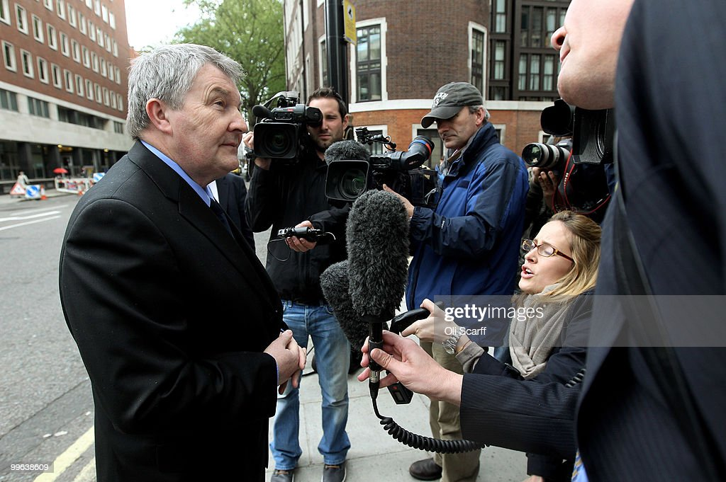 Derek Simpson (L), the Joint General Secretary of the Unite union, speaks to journalists as he arrives at the Department of Transport to hold talks with the Transport Secretary Philip Hammond in a bid to avert a proposed strike by BA cabin crew on May 17, 2010 in London, England. BA cabin crew are planning four five-day strikes, the first of which is due to begin tomorrow, in a protest over changes to working conditions. British Airways are also questioning the legality of the BA cabin crew members by their union Unite and are seeking a High Court injunction to prevent the industrial action.