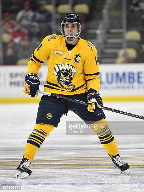 Derek Smith of the Quinnipiac Bobcats skates in the first period during game one of the Three Rivers Classic hockey tournament at PPG PAINTS Arena on...