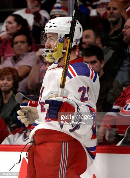 Derek Stepan of the New York Rangers celebrates his first period goal against the Montreal Canadiens during Game Five of the Eastern Conference Final...