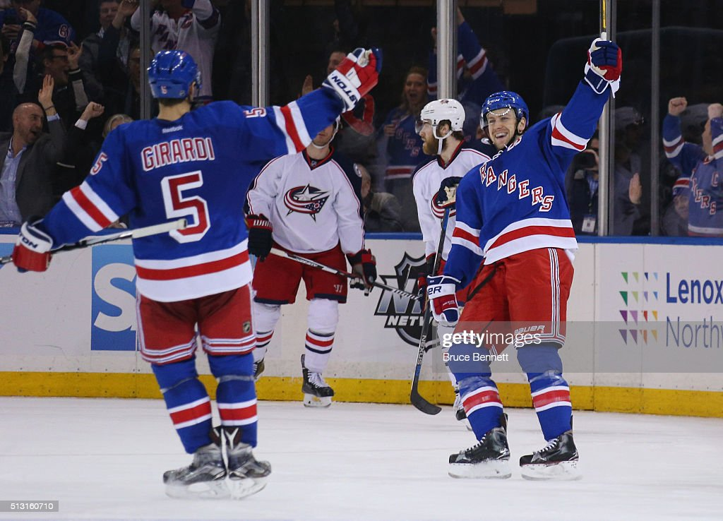 Derek Stepan of the New York Rangers celebrates his shorthanded game winning goal at 1712 of the third period against the Columbus Blue Jackets and...