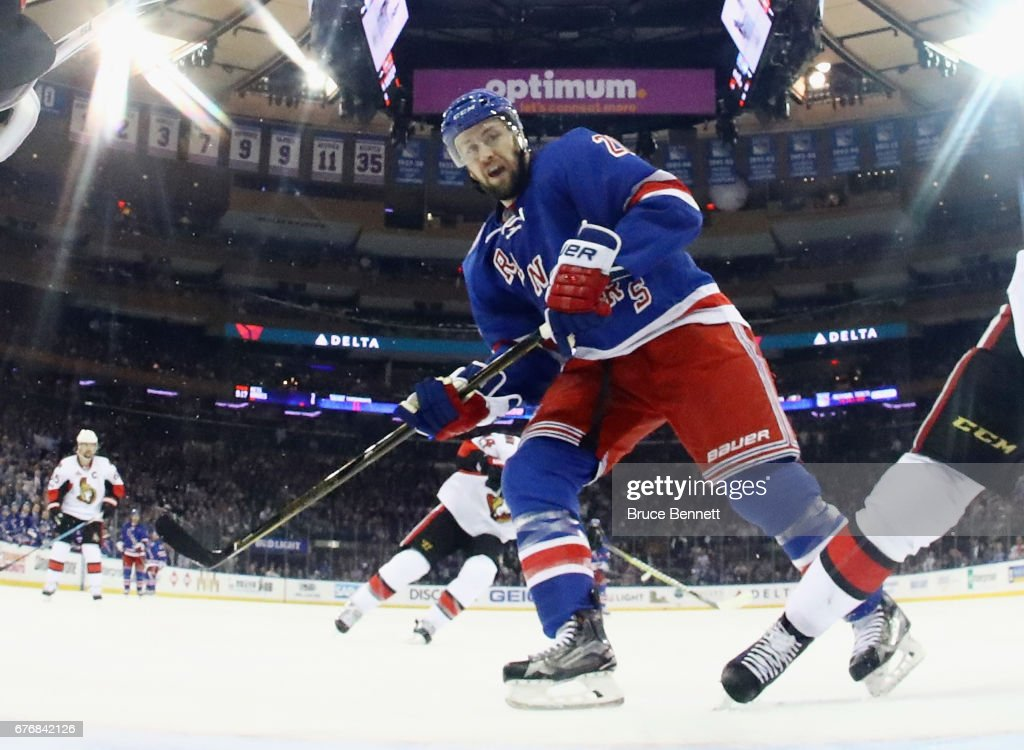 Derek Stepan #21 of the New York Rangers skates against the Ottawa Senators in Game Three of the Eastern Conference Second Round during the 2017 NHL Stanley Cup Playoffs at Madison Square Garden on May 2, 2017 in New York City. The Rangers defeated the Senators 4-1.