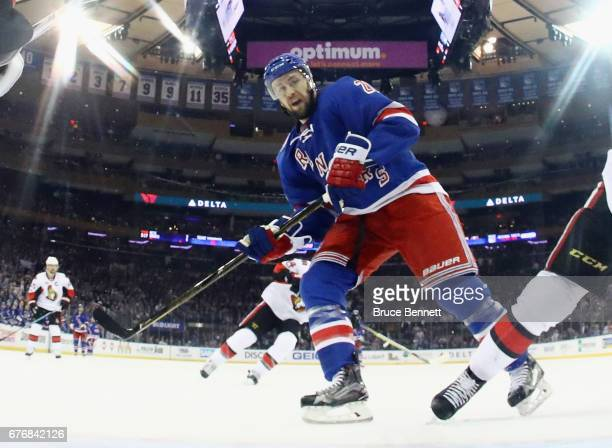 Derek Stepan of the New York Rangers skates against the Ottawa Senators in Game Three of the Eastern Conference Second Round during the 2017 NHL...