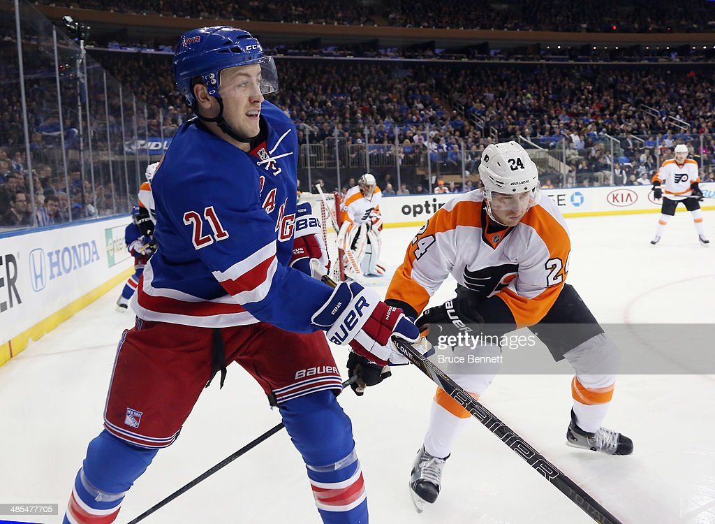 <a gi-track='captionPersonalityLinkClicked' href=/galleries/search?phrase=Derek+Stepan&family=editorial&specificpeople=4687181 ng-click='$event.stopPropagation()'>Derek Stepan</a> #21 of the New York Rangers skates against the Philadelphia Flyers in Game One of the First Round of the 2014 NHL Stanley Cup Playoffs at Madison Square Garden on April 17, 2014 in New York City. The Rangers defeated the Flyers 4-1.