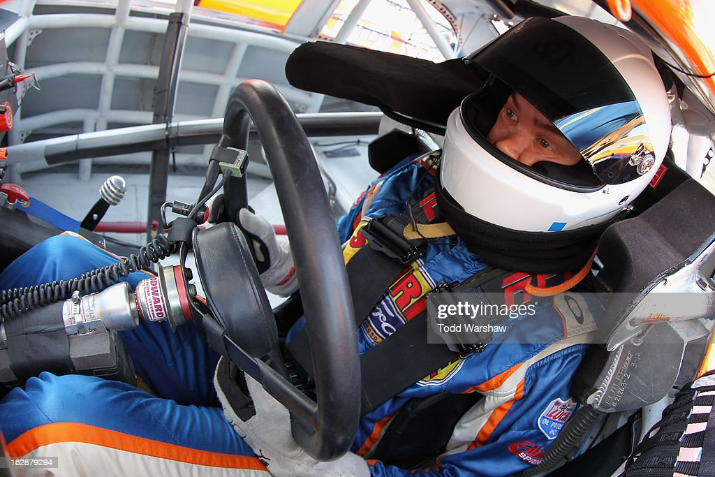 Derek Thorn, driver of the #6 Sunrise Ford/Lucas Oil/Eibach Ford, sits in his car during NASCAR K&N Pro Series West practice for the Talking Stick Resort 60 at Phoenix International Raceway on February 28, 2013 in Avondale, Arizona.